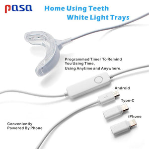 Hot! Portable Smart Cold Blue light LED Tooth Whitener Device Dental Whitening Gel Kit 2 Ports For Android IOS Teeth Bleaching