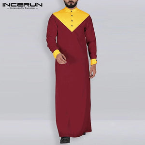 INCERUN Men Vintage Islamic Muslim Kaftan Stand Collar Robes Jubba Thobe Retro Long Sleeve Color-block Men Indian Clothing S-5XL