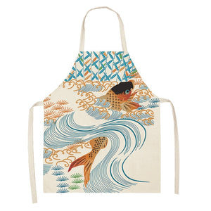 Women Men Kitchen Aprons Housewife Apron Waterproof Cooking oil-proof Fish Cotton Linen Home Textile Antifouling Chef  68*55 037