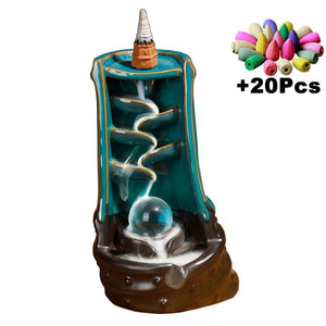 With 10Cones Free Gift Waterfall Incense Burner Ceramic Incense Holder,Option for Mixed Incense Cones (Burner Size L and Size M)