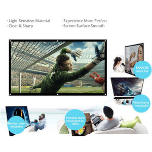 60/72/84/100/120 inch Projector Screen HD 16:9 White Dacron Diagonal Video Projection Screen Wall Mounted for Home Theater Movie