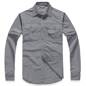 Men's Military Clothing Lightweight Army Shirt Quick Dry Tactical Shirt Summer Removable Long Sleeve Work Hunt Shirts