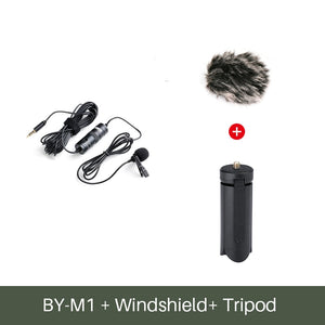 3.5mm Audio Video Record Lavalier Lapel Microphone Clip On Mic for iPhone Android Mac DSLR Podcast Camcorder Recorder