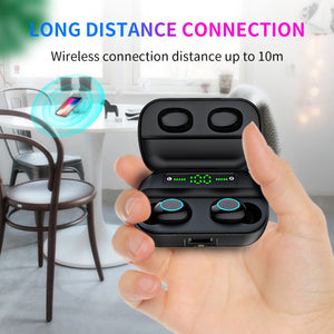 HBQ Touch Bluetooth V5.0 Earphone Portable TWS Wireless Mini Earbuds 3D Stereo Headset 1200mAh As Power Bank With LED Display