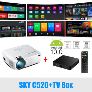 Mini HD Projector(Optional Android 10 TV Box),150inch Home Theater,Portable LED Proyector for Phone 1080P 3D 4K