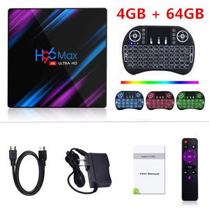 H96 MAX RK3318 Android TV Box 9.0 4G 64GB 4K HD Smart TV Box 2.4&5.0G WiFi Bluetooth 4.0 Box Google Play Media Player