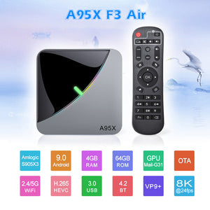 VONTAR A95X F3 Air 8K RGB Light TV Box Android 9.0 Amlogic S905X3 4GB 64GB Dual Wifi 4K 60fps Netflix Youtube Smart TV A95X Air