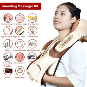 Neck Massager Electric Shiatsu for Back Body Shouder Massage Roller Car Relaxer Massageador Masajeador Health Care