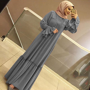 Muslim Abaya Dress Women Solid Ruffle Petal Sleeve Maxi Long Africa UAE Turkey Dubai Caftan Kimono Ramadan Party Islamic Ropa
