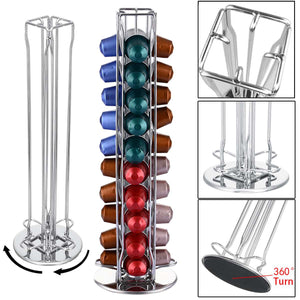 360 Rotating 40 Capsule Coffee Pod Holder Capsules Dispensing Tower Stand Fits for Nespresso Capsule Storage Coffee Stand