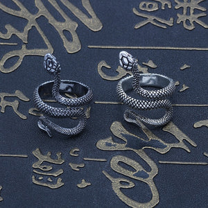 Punk Animal Ring Gothic Black Silver Metal Snake Rings For Women Men Night Club Unisex Adjustable Anillos Jewelry Drop Shipping