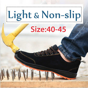 40 41 42 43 44 45 Men Outdoor Anti-slip Steel Toe Cap Work Safety Shoes Anti-puncture Breathable Construction Safety Boots Shoes