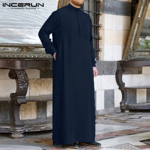 Fashion Muslim Clothing Thobe Jubba Mens Robe Long Sleeve Saudi Arab Thobe Kaftan Ropa Arabe Islamic Thobe Indian Dress Robe