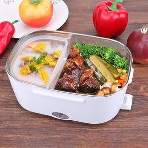 Multi-functional  Lunch Box with Spoon Portable Electric Heating Lunch Box Food Heater Rice Container for Home Office Car