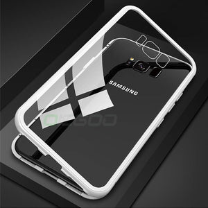 Magnetic Metal Phone Case For Samsung Galaxy S9 S8 Plus Note 8 9 Magnet Cases Bumper Clear Glass Cover For Samsung Note 9 8 Case