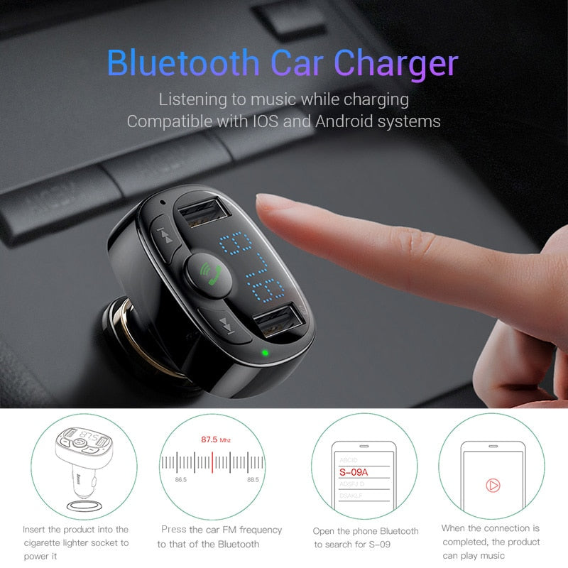 BASEUS Wireless Bluetooth Hands-free Music Player FM Transmitter Car Charger Kit