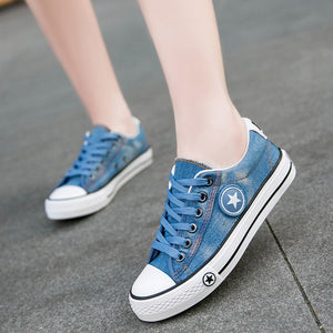 canvas running Shoes female spring and summer blue sport shoes women students sneakers rubber sole lace-up outdoor shoes
