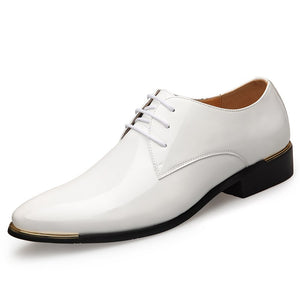 Newest Men's Luxury Dress Shoes Patent Leather Oxford Mens Shoes Italy White Derby Formal Male Flats Drop Shipping Plus Size 38-47