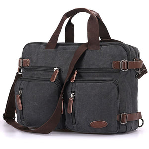 Hybrid Multifunction Laptop Briefcase Messenger Bag with Shoulder Strap Canvas BookBag for Men