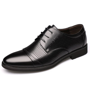 Newest Autumn Winter New Breathable Business Dress Shoes Men's Split Leather Pointed Formal Men Derby Shoes Lace-up Office Oxfords