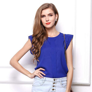 Newest Hot Women Chiffon Blouses Summer Shirts O-neck Ruffled Pleated Sleeve Strap Solid Tops Blouses