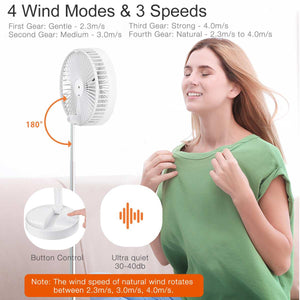 BlitzWolf BW-FUN1 3 In 1 Foldable Stretchable Fan Ultra Compact Pedestal Fan Built-in 7200mAh Battery Cool and Fresh Wind Fan