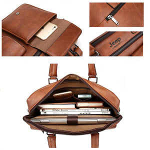 MYOSAZEE 2018 New Men Split Leather Handbag Zipper Men Business Polyester Two Silt Pocket Soft Handle 14 Inches Briefcases Bags