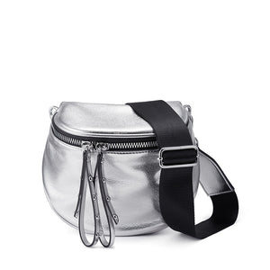 Newest crossbody bags for women silver shoulder bag soft artificial leather messenger bag ladies metallic effect small