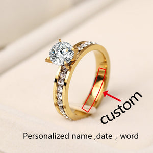 Newest Stainless Steel Rings For Women Circle CZ Personalized Custom Fashion Jewelry