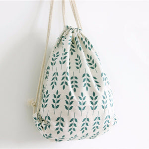 Unisex Large Capacity Wheat Ear Drawstring Beam Port Backpack Fresh Lively Cotton Canvas Shopping Bags Travel Bag 10Jun 11