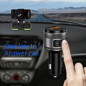 VANJEW C57 Quick charge 3.0 Car Bluetooth FM Transmitter Dual USB Ports Car Charger FM Modulator MP3 Player Car Lighter Handfree