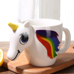 300ML 3D Color Changing Ceramic Mug Temperature Unicorn Coffee Tea Milk Hot Water Cup Drinkware Colour Novetly Christmas Gift