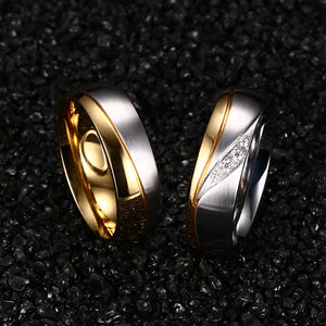 Meaeguet Romantic Wedding Rings For Lover Gold-Color Stainless Steel Couple Rings For Engagement Party Jewelry Wedding Bands