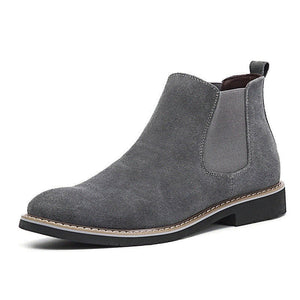 Newest Spring Fashion Chelsea Boots Men Slip On Cowboy Boots Mens Round Split Leather Men Ankle Boots Winter