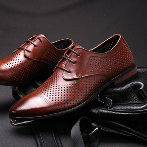 sSummer Leather Formal Shoes Men Dress Breathable Hollow Out Formal Genuine Leather Oxfords Flats Luxury Business Shoes