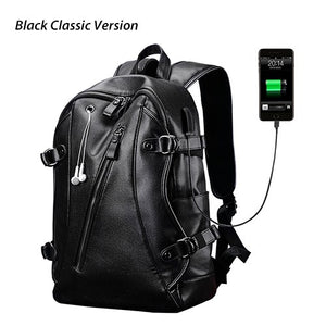 Men Backpacks PU Leather Waterproof Bags 15.6 Inch Laptop Backpack External USB Charge Computer Bag with Power Bank