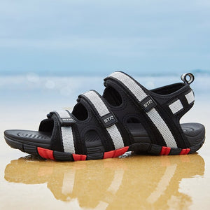 Summer Men Sandals Hook&loop Men's Summer Shoes 2019 Fashion Waterproof Casual Beach Shoes Size:39-44 Black
