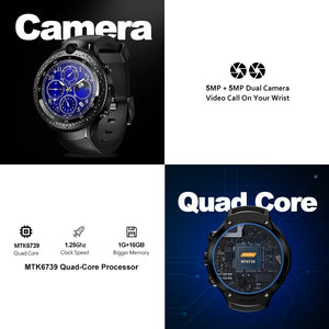 "New Zeblaze THOR 4 Dual 4G SmartWatch 5.0MP+5.0MP Dual Camera Android Watch 1.4"" AOMLED Display GPS/GLONASS 16GB Smart Watch Men"