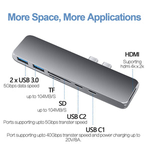 USB Type C Hub Adapter 7 in 1 Dual USB Type C Dock for MacBook Pro with 4K HDMI USB C USB3.0 SD/MicroSD Card Reader