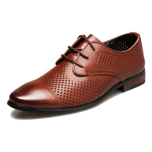 Newest Summer Leather Formal Shoes Men Dress Breathable Hollow Out Formal Genuine Leather Oxfords Flats Luxury Business Shoes