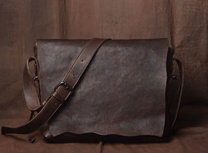 Handmade original leather simple personality shoulder bag men tanned cowhide messenger