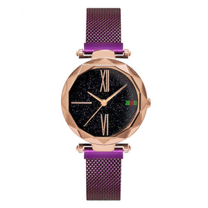 Luxury Rose Gold Women Watches Minimalism Starry sky Magnet Buckle
