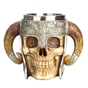Stainless Steel Skull Mug Viking Ram Horned Pit Lord Warrior Beer Stein Tankard Coffee Mug Tea Cup Halloween Bar Drinkware Gift