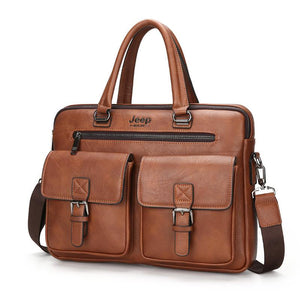 New Men Split Leather Handbag Zipper Men Business Polyester Two Silt Pocket Soft Handle 14 Inches Briefcases Bags
