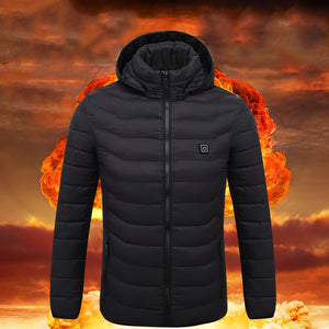 USB Charging Self Heating Jacket Coat Winter Thermal Clothing Carbon Fiber Heating Warm Thermostatic Hooded Cotton-padded Outfit