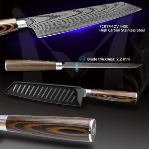 Kitchen knife Chef Knives Japanese 7CR17 440C High Carbon Stainless Steel Imitation Damascus Sanding Laser Knife Dropship