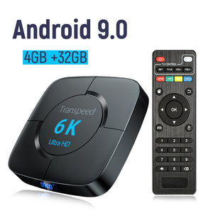 6K TV Box Android 9.0 Bluetooth Google Voice Assistant Youtube 3D Wifi 2.4G&5.8G 4GB RAM 64G Play Store Top Box