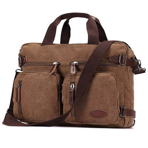 Multifunction Laptop Briefcase Messenger Bag with Shoulder Strap Canvas BookBag for Men,Women,College Students