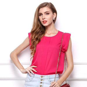 Hot Women Chiffon Blouses Summer Shirts O-neck Ruffled Pleated Sleeve Strap Solid Tops Blouses Casual Ladies Solid Shirt Blusas