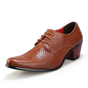 sheight increasing snake skin men shoes luxury brand italian formal leather male footwear pointed toe brogue oxford shoes for men